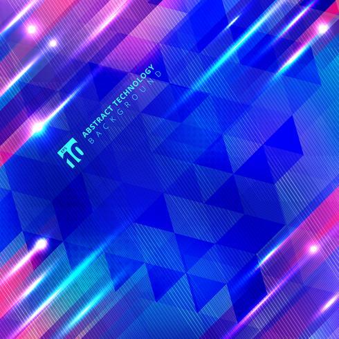 Linhas de movimento geométricas azuis com tecnologia de brilho de iluminação vetor