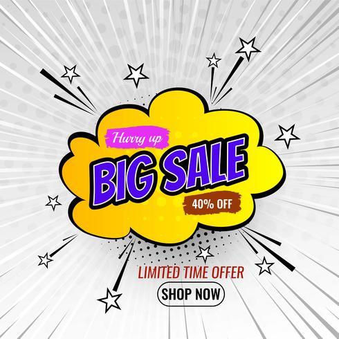 Banner de venda de estilo dos desenhos animados vetor
