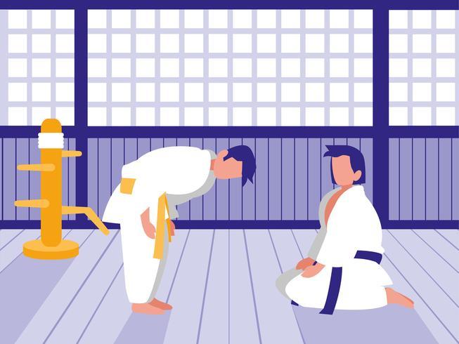 pessoas praticando artes marciais vetor