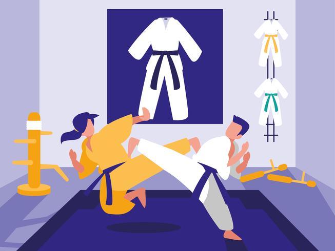 Cena do dojo de artes marciais vetor