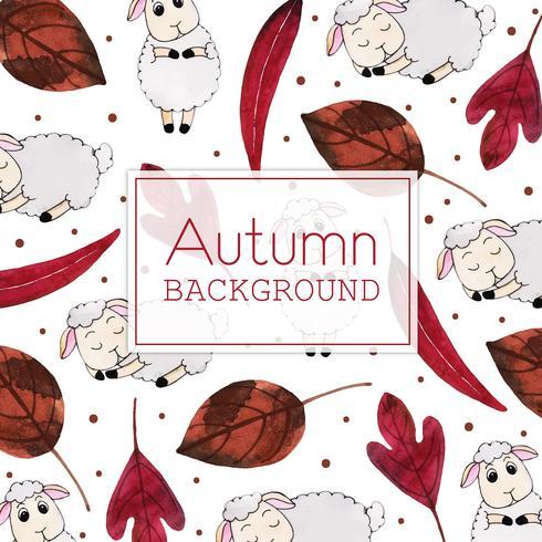 Folhas vermelhas e ovelhas lindas folhas de outono aquarela e fundo de ovelhas vetor