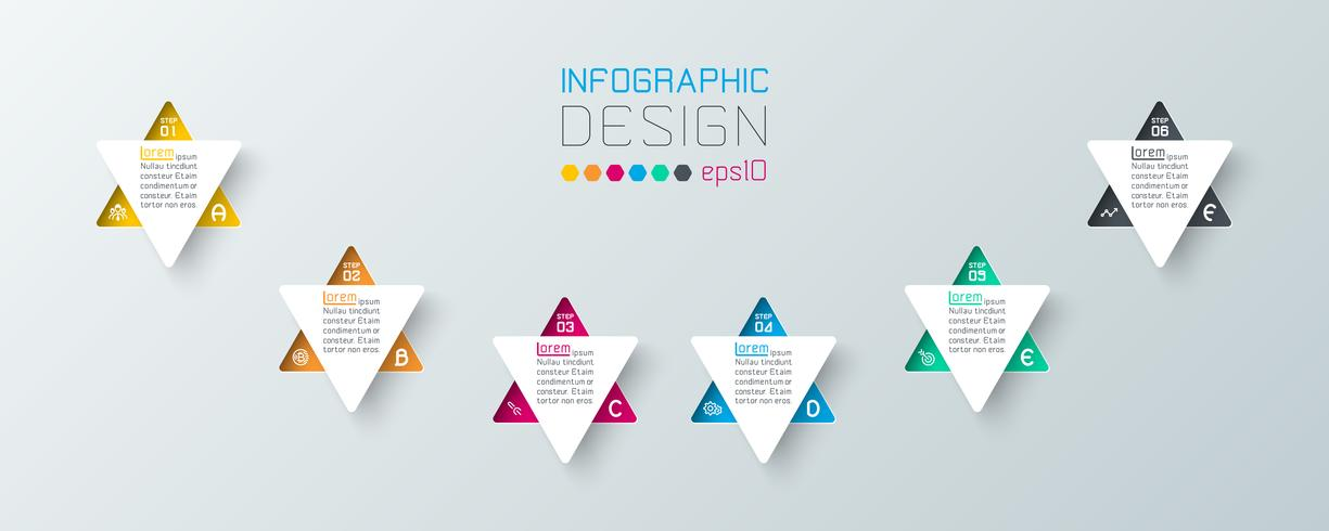 Infográfico de negócios com 6 passos vetor