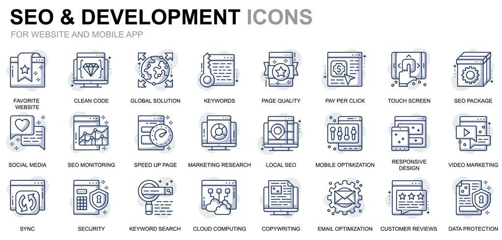 SEO e ícones de linha de desenvolvimento vetor