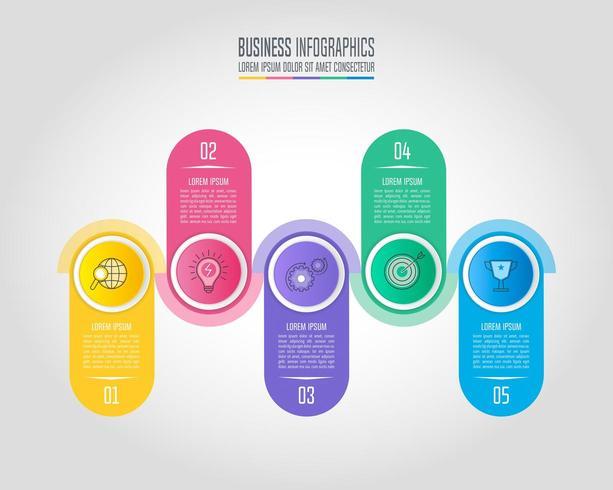 conceito de negócio de design infográfico com 5 opções, partes ou processos. vetor