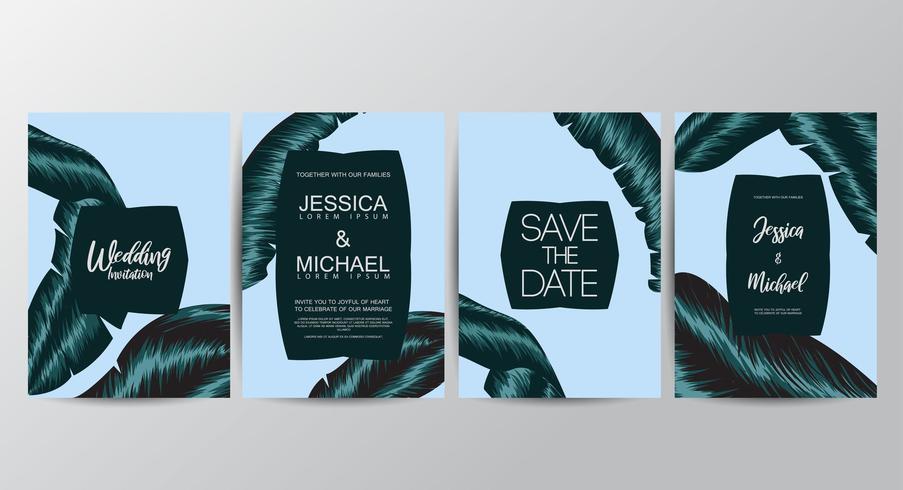 Cartões de convite floral vetor