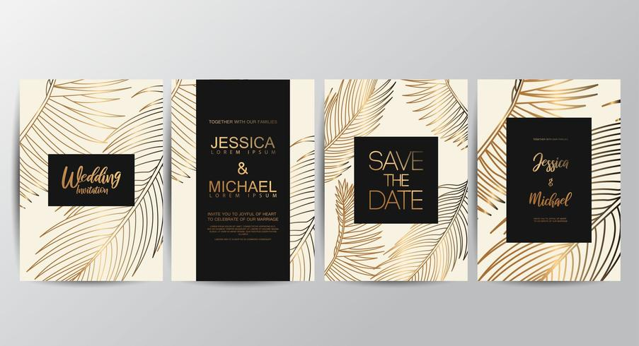 Cartões de convite de casamento de luxo Premium Tan vetor