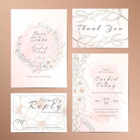 Conjunto de modelo de convite de casamento de flor anêmona delineada vetor