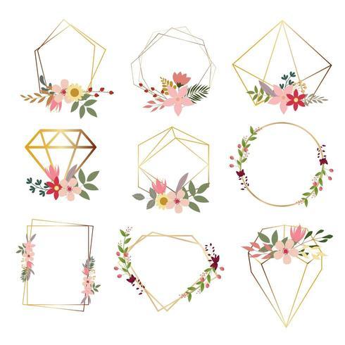 conjunto de quadros florais geométricos modernos vetor