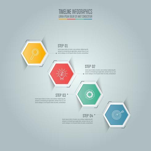 Conceito de negócio infográfico com 4 opções. vetor