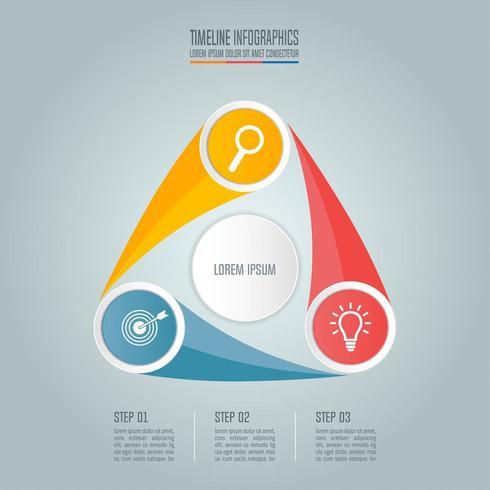 Conceito de negócio com 3 opções, etapas ou processos. vetor