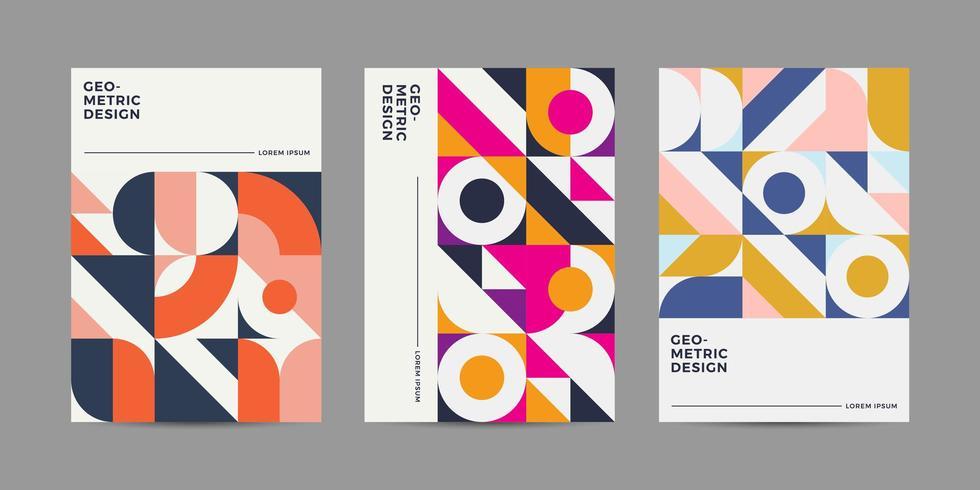 Conjunto de coleção de Design de capa retrô vetor
