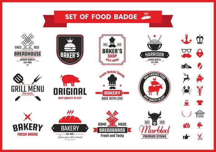 Restaurante Vintage Food Badges vetor