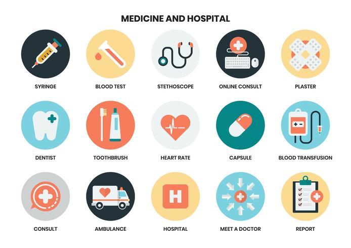 Conjunto de ícones de hospital e medicina vetor