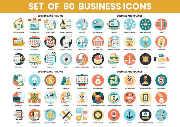 Conjunto de ícones de negócios e finanças vetor