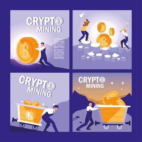 banners de bitcoins de mineração de criptografia vetor