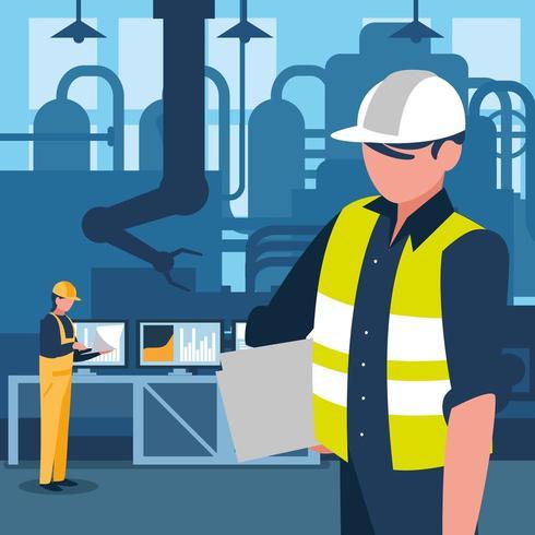 gerente industrial em caráter de fábrica vetor
