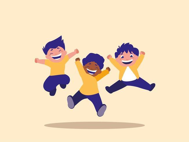 Grupo de crianças pulando vetor