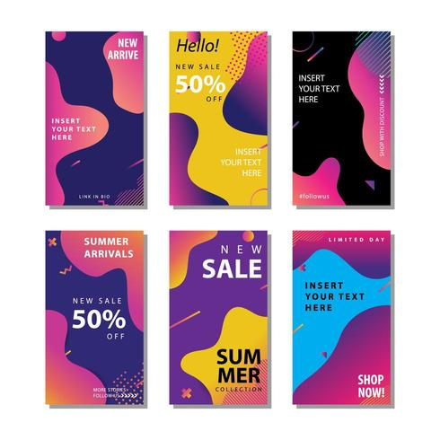 conjunto de panfleto de venda de mídia social colorido vetor