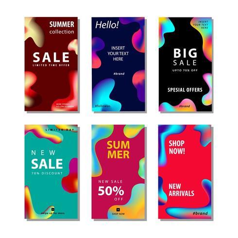 conjunto fundo de panfleto de venda com elemento de gradiente fluido vetor