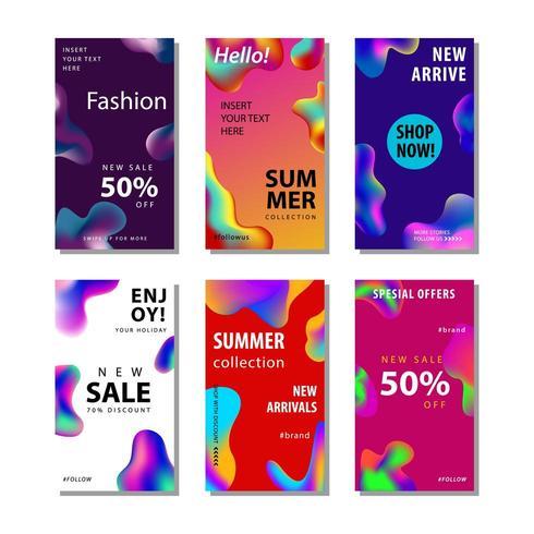 conjunto de 6 panfleto de venda de mídia social vetor