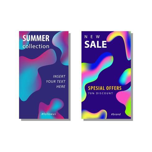 2 conjunto de panfleto de venda de mídia social vetor