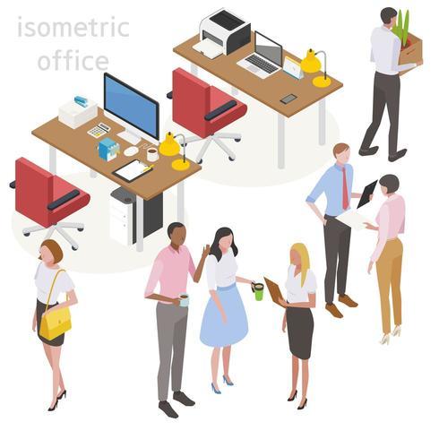 Desenho isométrico de mesas com pessoal de escritório e material de escritório vetor