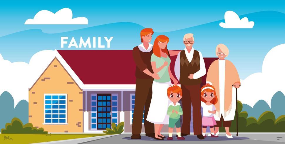 Família, frente, casa vetor