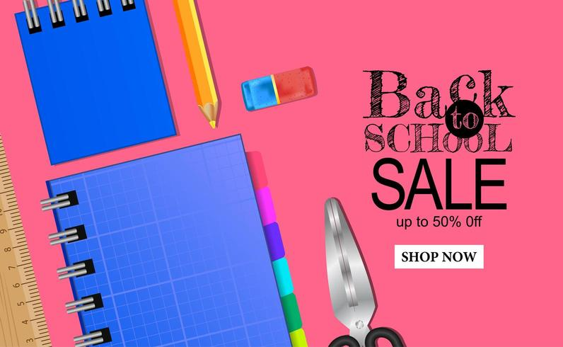 Bem-vindo de volta ao modelo de banner de venda de escola com papelaria no fundo rosa vetor