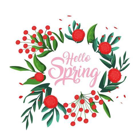 Olá cartão de primavera com flores vetor