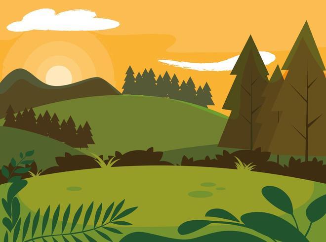 dia paisagem com pinheiros árvores cena natural vetor