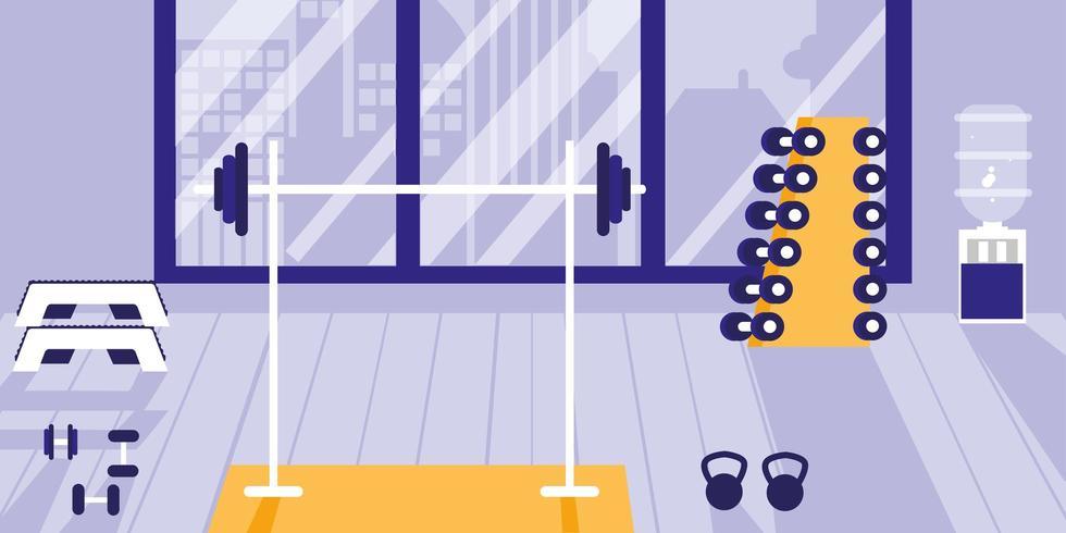 área para levantamento de peso no ginásio esportivo vetor