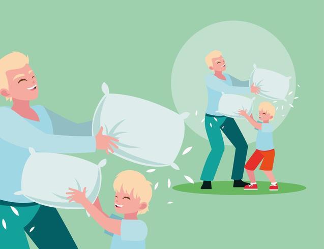 luta de travesseiro pai e filho vetor