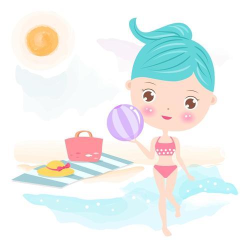 Linda garota na praia com bola vetor