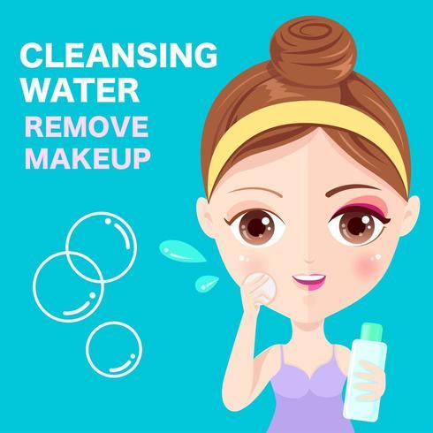 Mulher limpando o rosto vetor