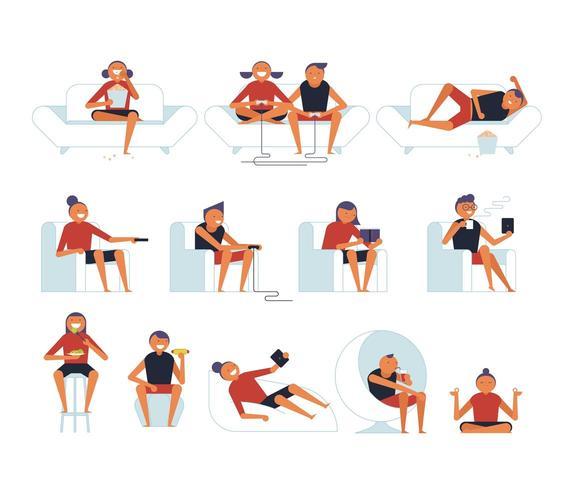 Poses diferentes de pessoas sentadas em cadeiras. vetor