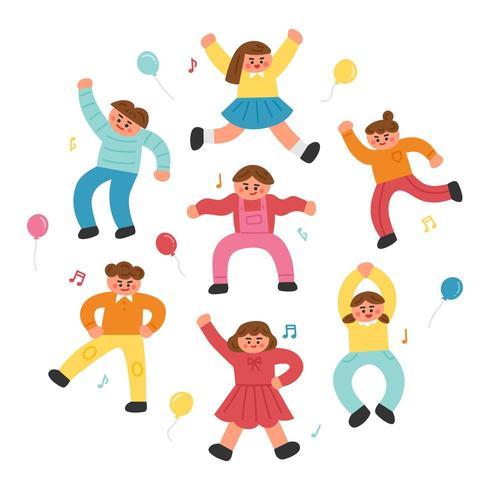 Conjunto de giros crianças dançando a música vetor