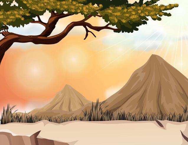 Cena da natureza com montanha e árvore vetor