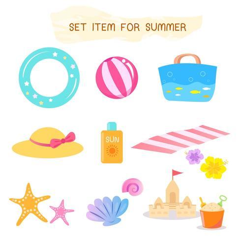 Conjunto de itens para o verão vetor