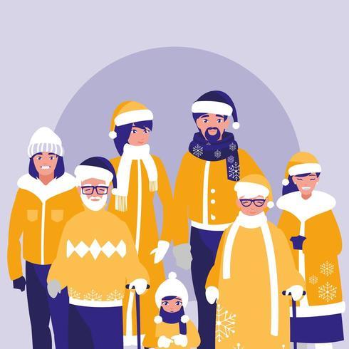 grupo de família pronto para a neve vetor