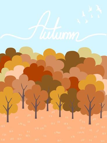 Céu colorido do espaço livre do amd da árvore na estação do outono. vetor
