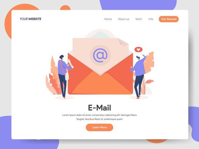 Modelo de página de destino do conceito de ilustração de email vetor