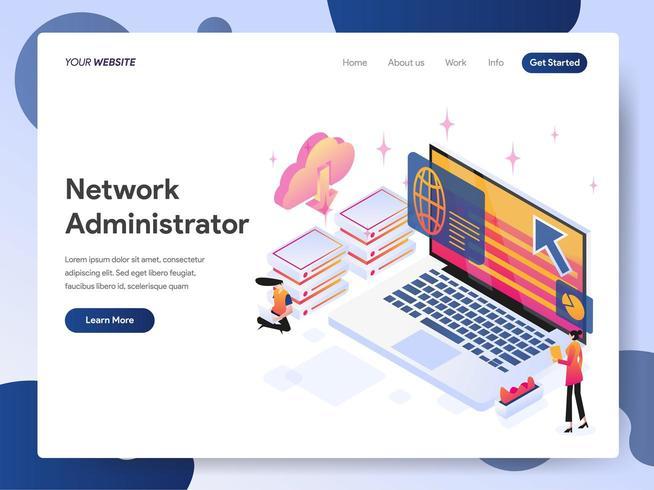 Conceito de ilustração isométrica de administrador de rede vetor