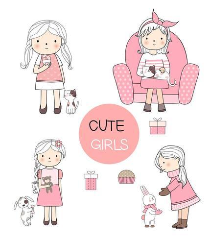 Conjunto de linda garota com estilo de mão desenhada de estimação vetor
