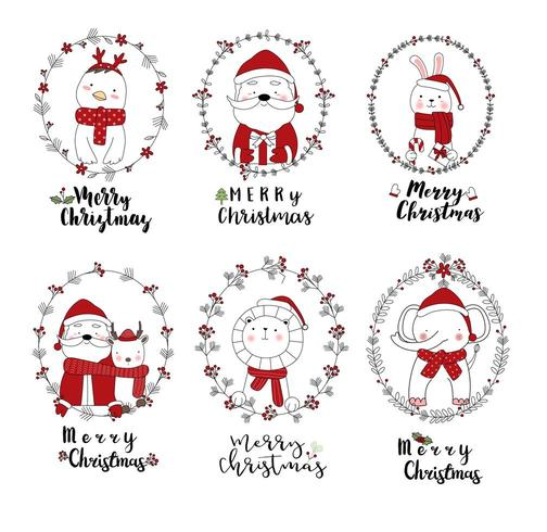 Feliz Natal animais fofos em quadros festivos vetor
