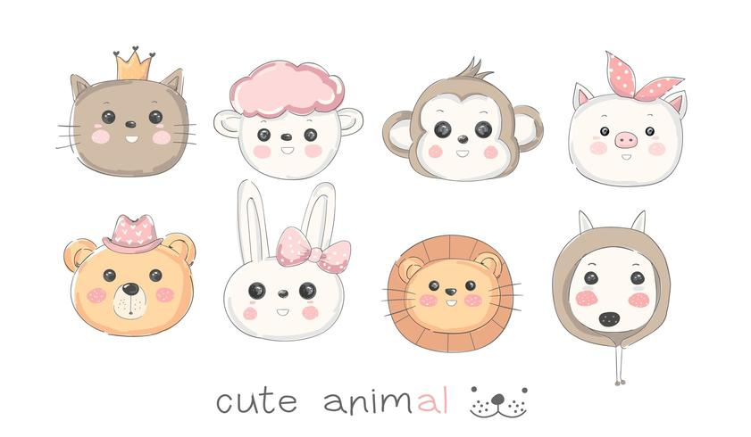 Conjunto de ícones de animais bebê fofo vetor