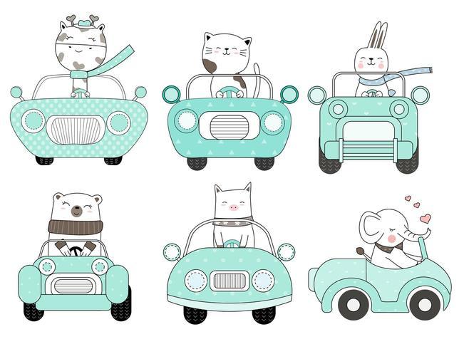 Animais fofos no carro azul mão desenhado conjunto vetor