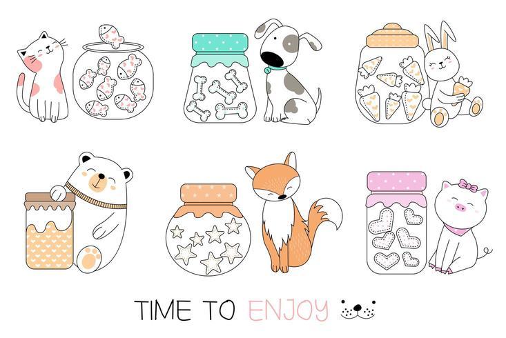 Hora de apreciar o conjunto de animais desenhados à mão vetor