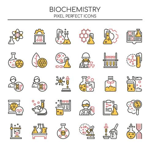 Conjunto de ícones de bioquímica de linha fina Duotone vetor