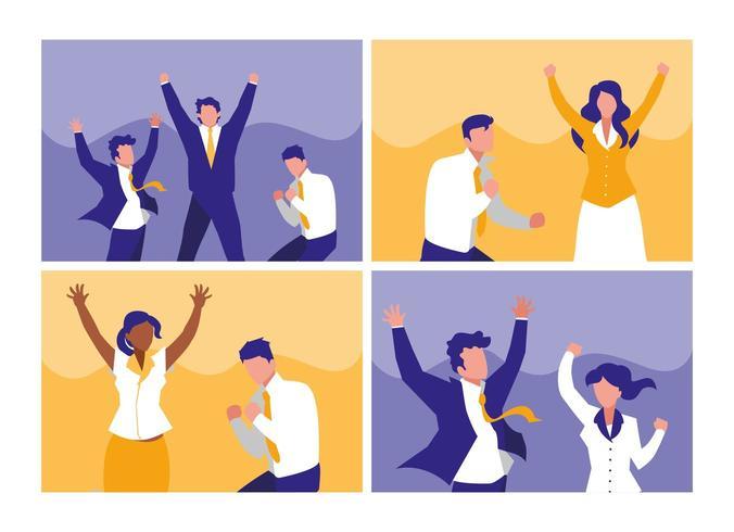 conjunto de empresários bem sucedidos comemorando vetor