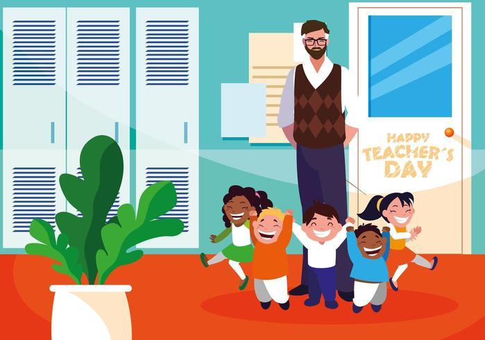 feliz dia do professor com professor e alunos na escola vetor